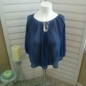 Joie navy sheer crop top 100% silk. Sz S